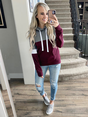No Regrets Hoodie in Gray and Burgundy