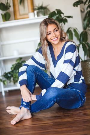 Dreaming of You Striped Sweater in Navy