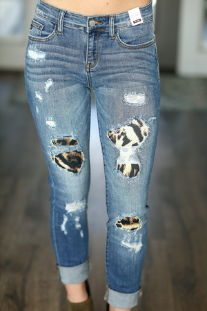 Let's Party Judy Blue Patched Up Animal Print Denim