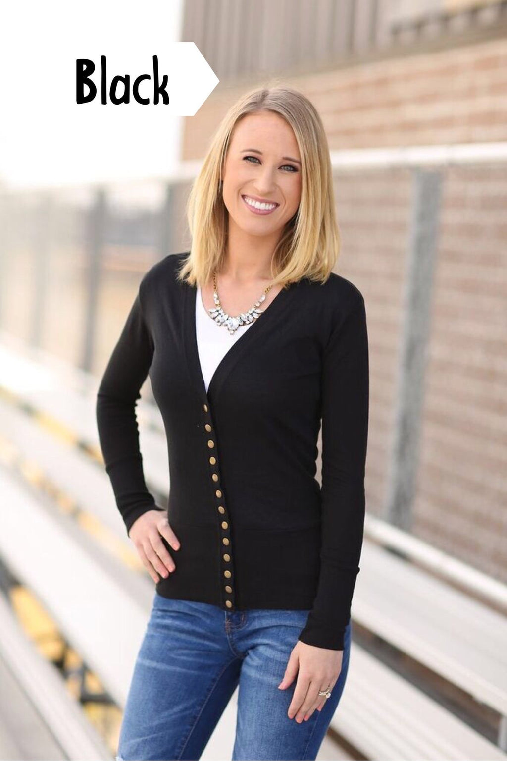 Cute As a Button Snap Cardigan in Black