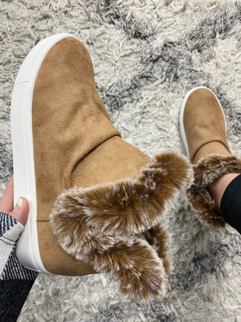 Very G Calm and Fearless Faux Fur Lined Booties in Caramel