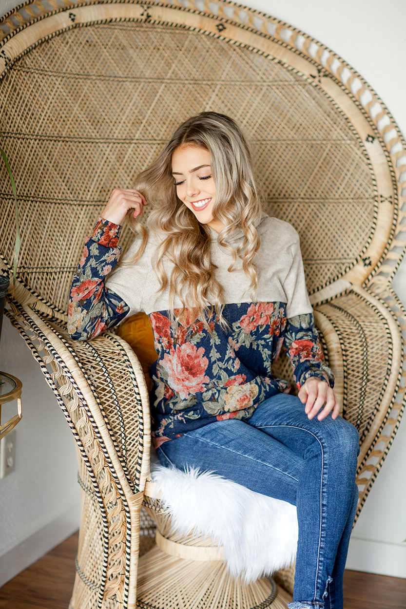 Brighter Side Hoodie in Oatmeal and Navy Floral (SALE)