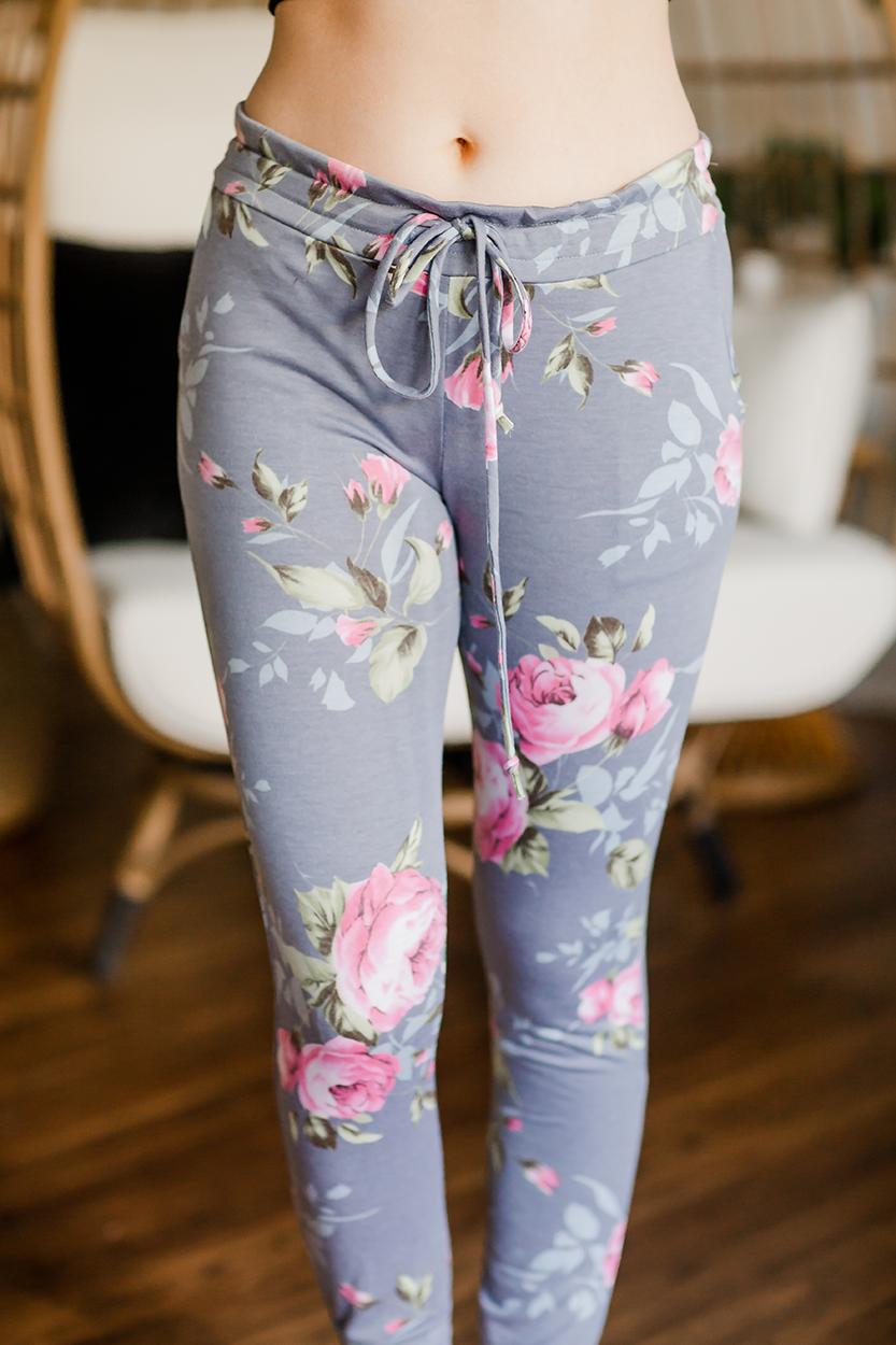 I Wish Floral Joggers in Gray