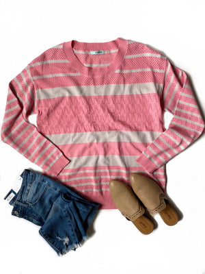 All The Best Striped Sweater Top in Pink and Gray
