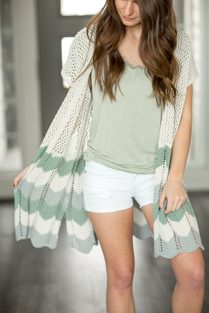 Finishing Touch Knit Chevron Detailed Cardigan