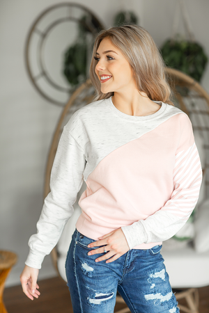 Steady Rush Pullover in Blush and Oatmeal
