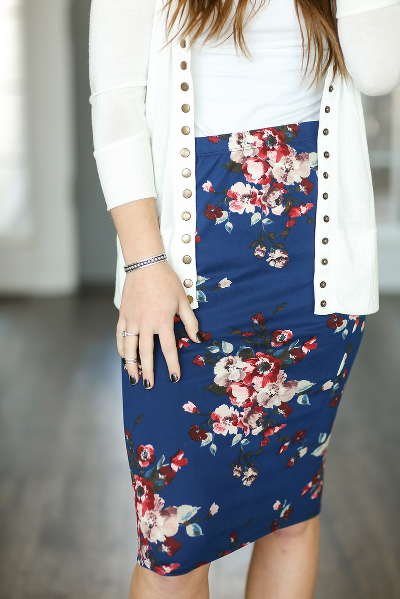 Get The Look Floral Skirt in Navy