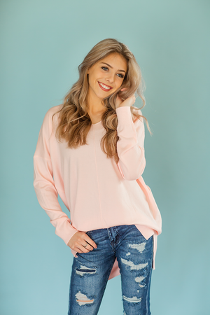 Easy Morning Pullover Sweater in Light Pink