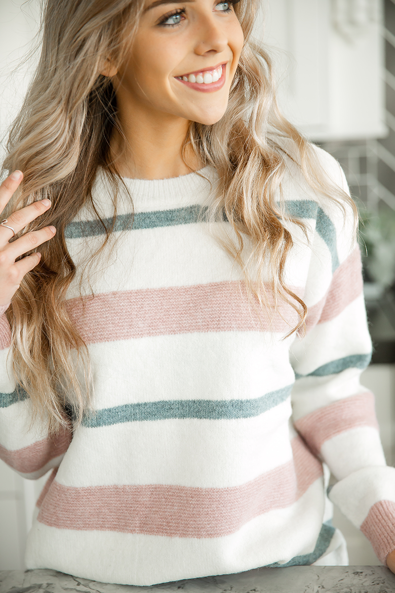 All in This Together Striped Sweater in Mauve, Dusty Blue, and Cream