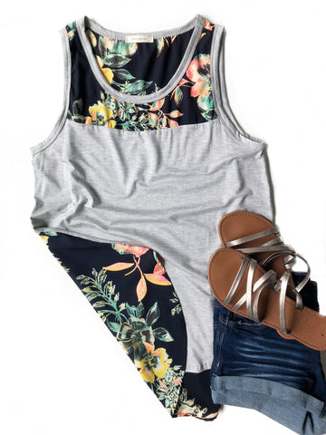 Up All Night Tank With Floral Back in Gray
