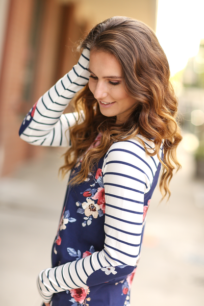 Make an Entrance Long Sleeve Floral Top in Navy