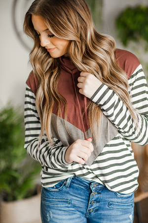 I Want Crazy Rust Cowl Neck with Stripes