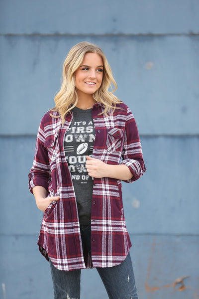 Flannel Plaid Tunic in Burgundy (SALE)