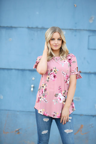 Fancy That Floral Top in Mauve