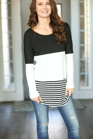 Always Motivated Color Block Tee with Stripes in Black