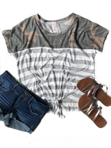 Big Plans Camo Striped Knotted Top (SALE)