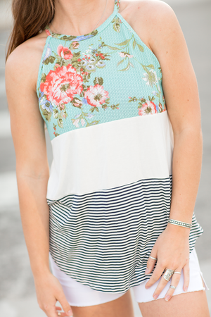 Lost In Your Eyes Tank in Stripes, White and Mint Floral