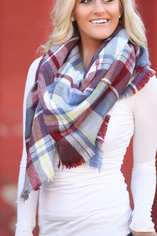 Plaid Blanket Scarf- Burgundy, and Light Blue
