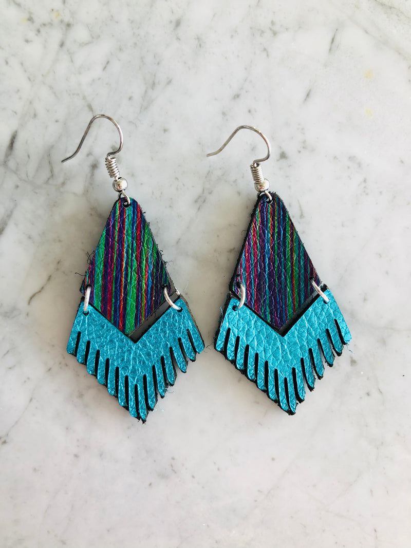Striped Fringe Leather Earrings in Metallic Blue