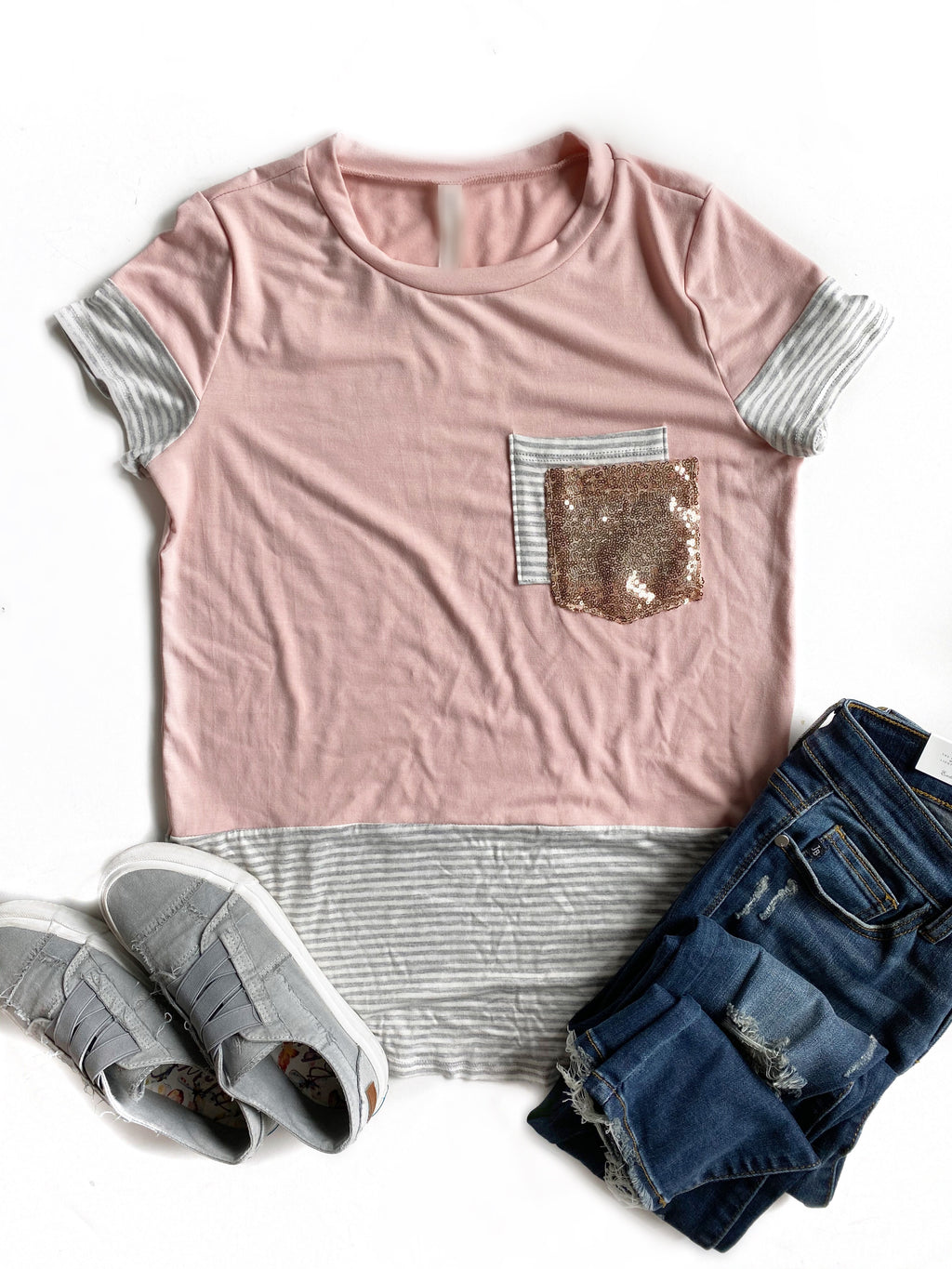 Feeling Carefree Short Sleeve Sequin Pocket Top in Blush