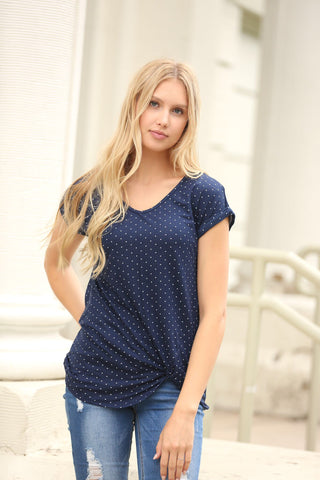 Polka Dot Twist Tee in Navy