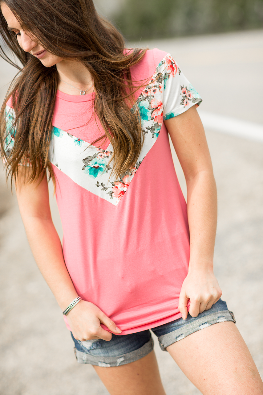 So Famous Color Block Top in Coral