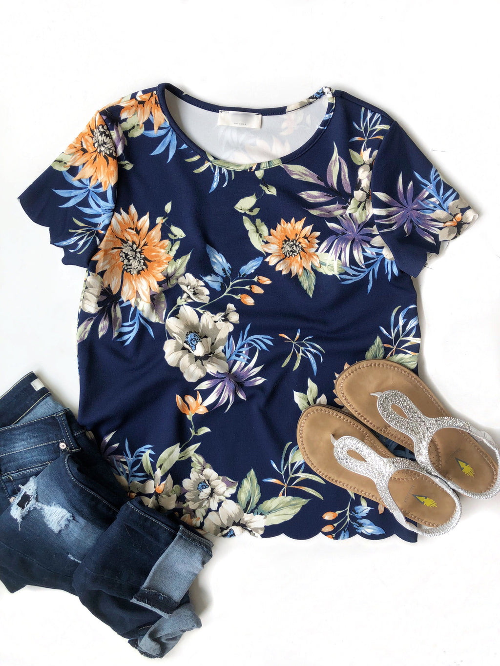 Keeping It Real Scalloped Edge Top in Navy Floral