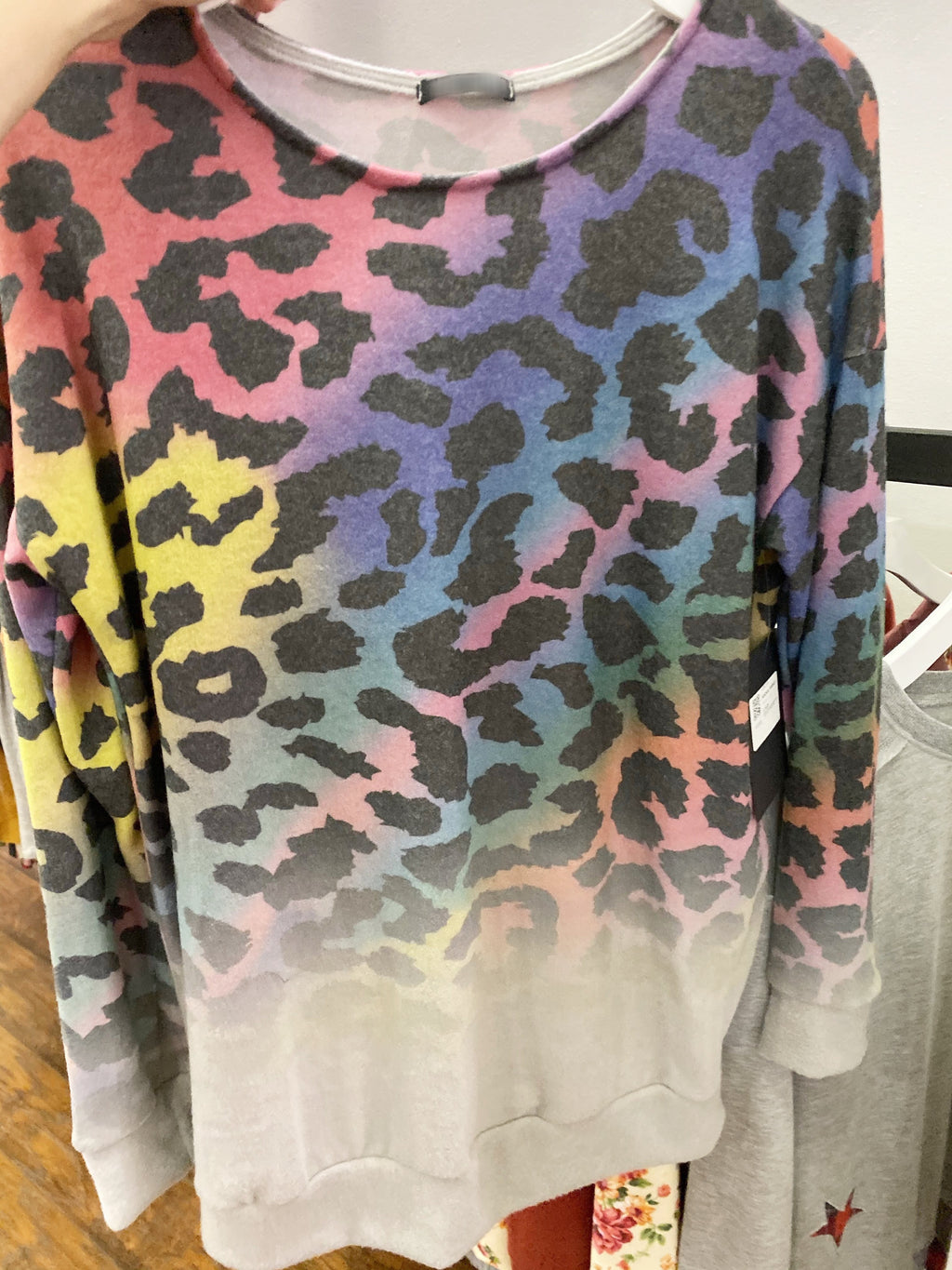 Wake Up and Shine Animal Print Rainbow Pullover