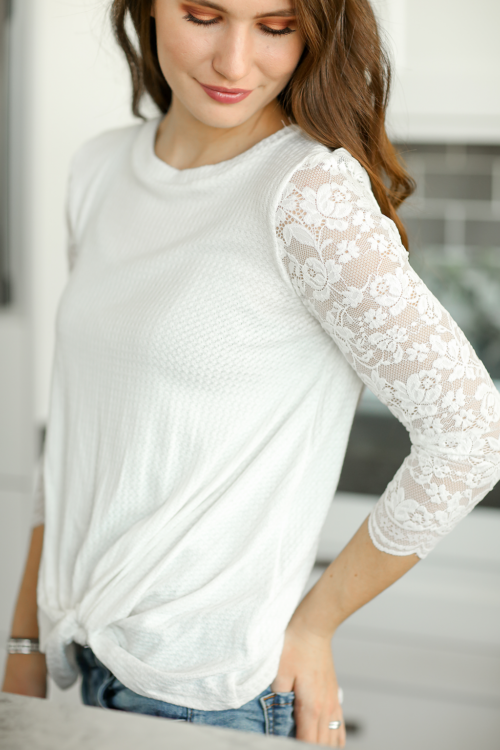 What You Need White Twist Top With Lace Sleeves