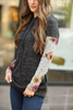 Madly In Love Charcoal Hoodie With Floral Sleeves