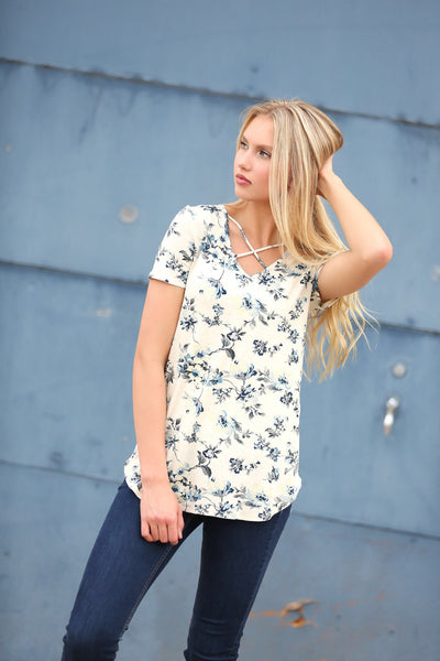 First Love Criss Cross Tee in Blue Floral (SALE)