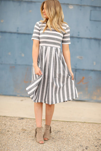 Pretty Lady Striped Dress in Charcoal