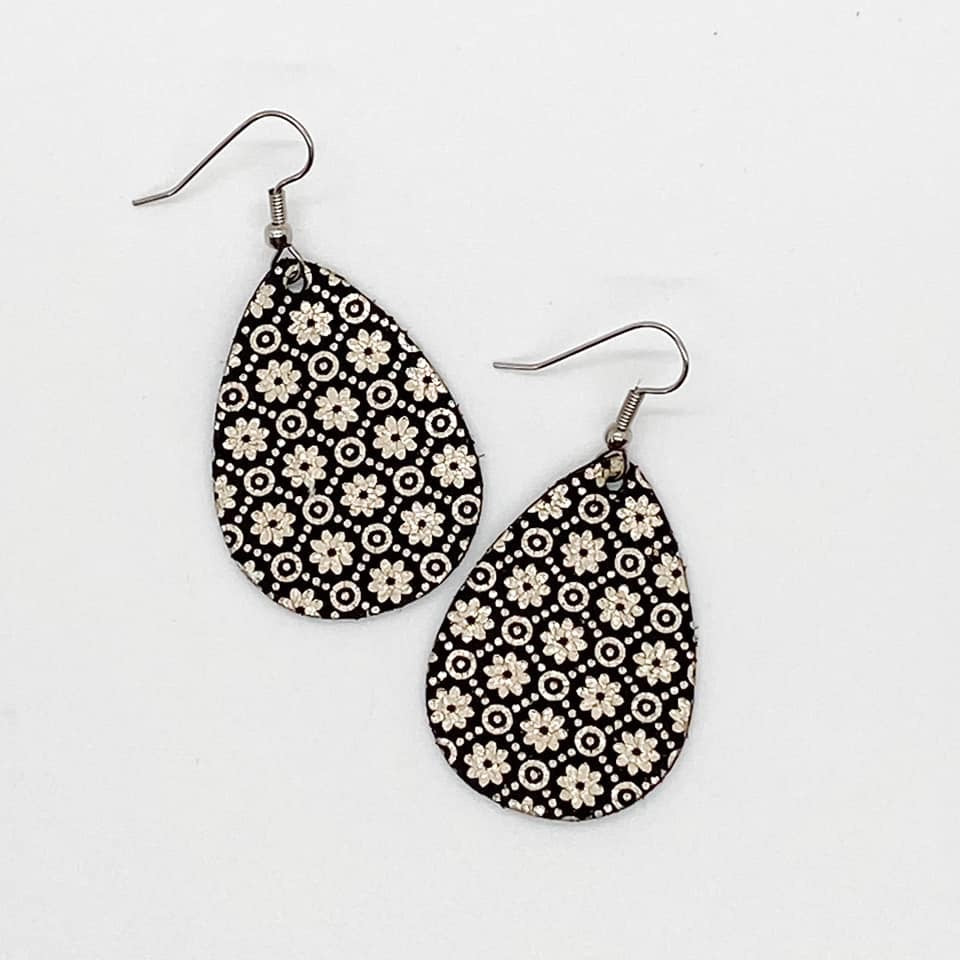 Black and Gold Foil Leather Earrings