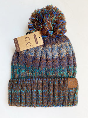 CC Knit Pom Beanie in Brown and Teal