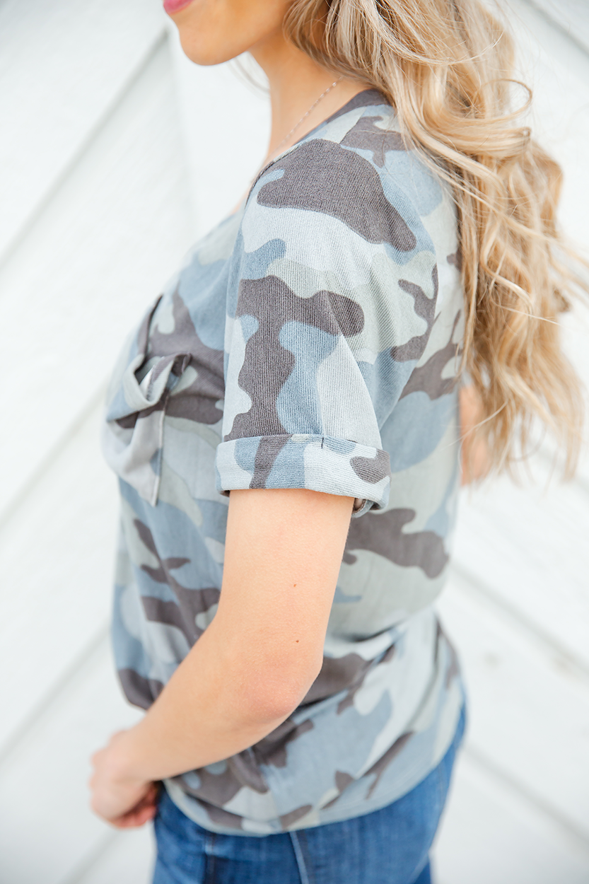 The Left Side Camo Top in Dusty Blue