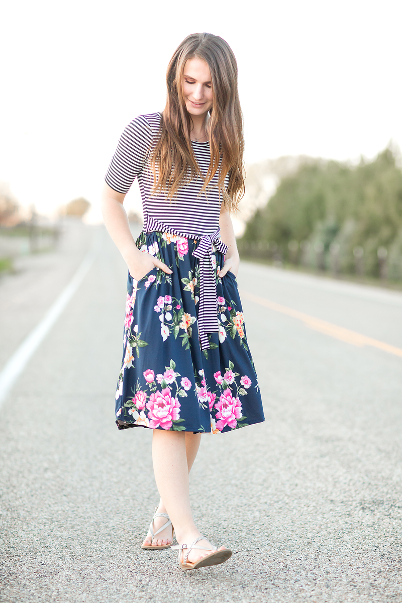 So Good Floral and Striped Dress (SALE)