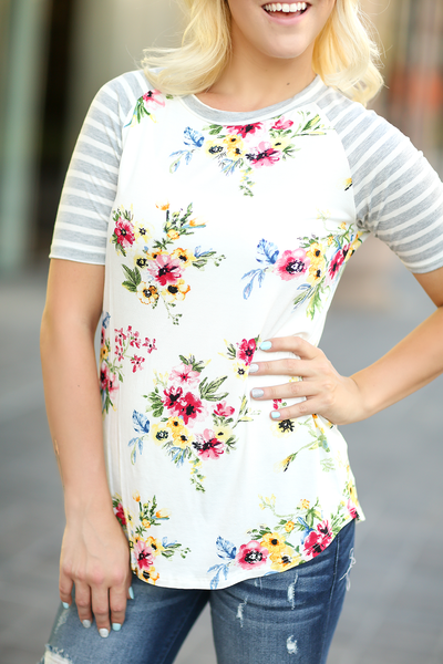 Simplicity Ivory Floral Top With Gray Striped Sleeves (SALE)