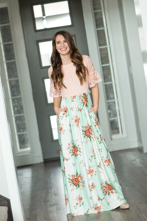 Honestly Yes Lace and Floral Maxi Dress (SALE)