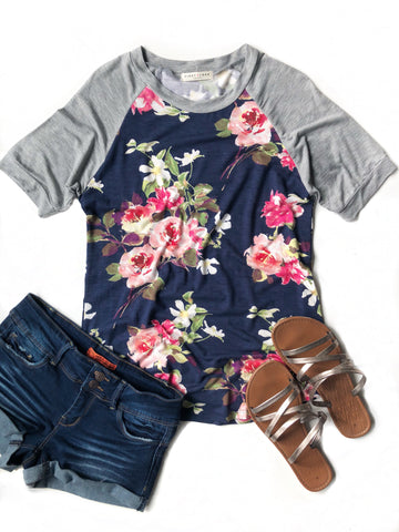 Easy To Love Floral Baseball Tee in Gray