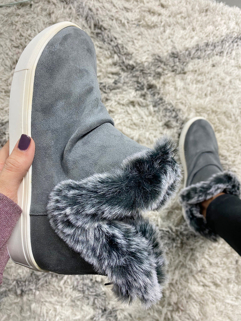 Very G Let it Snow Fur Lined Booties in Charcoal