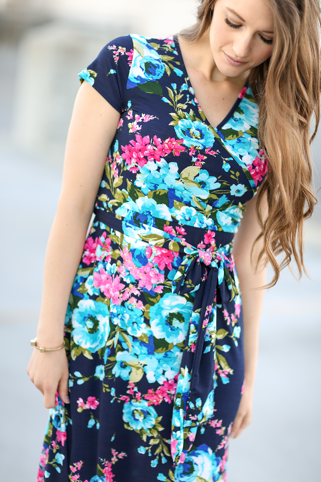 Wrapped Up In You Floral Maxi Dress in Navy