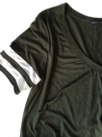 Double Striped Sleeve Twist Tee in Olive