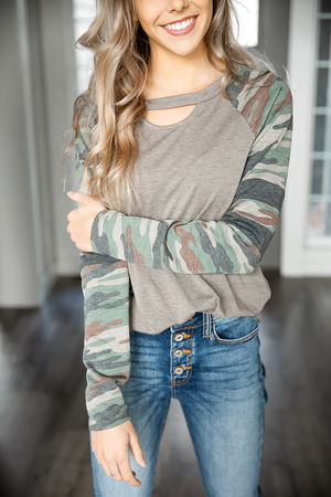 Get In Line Olive and Camo Long Sleeve Top with Neckline Key Hole