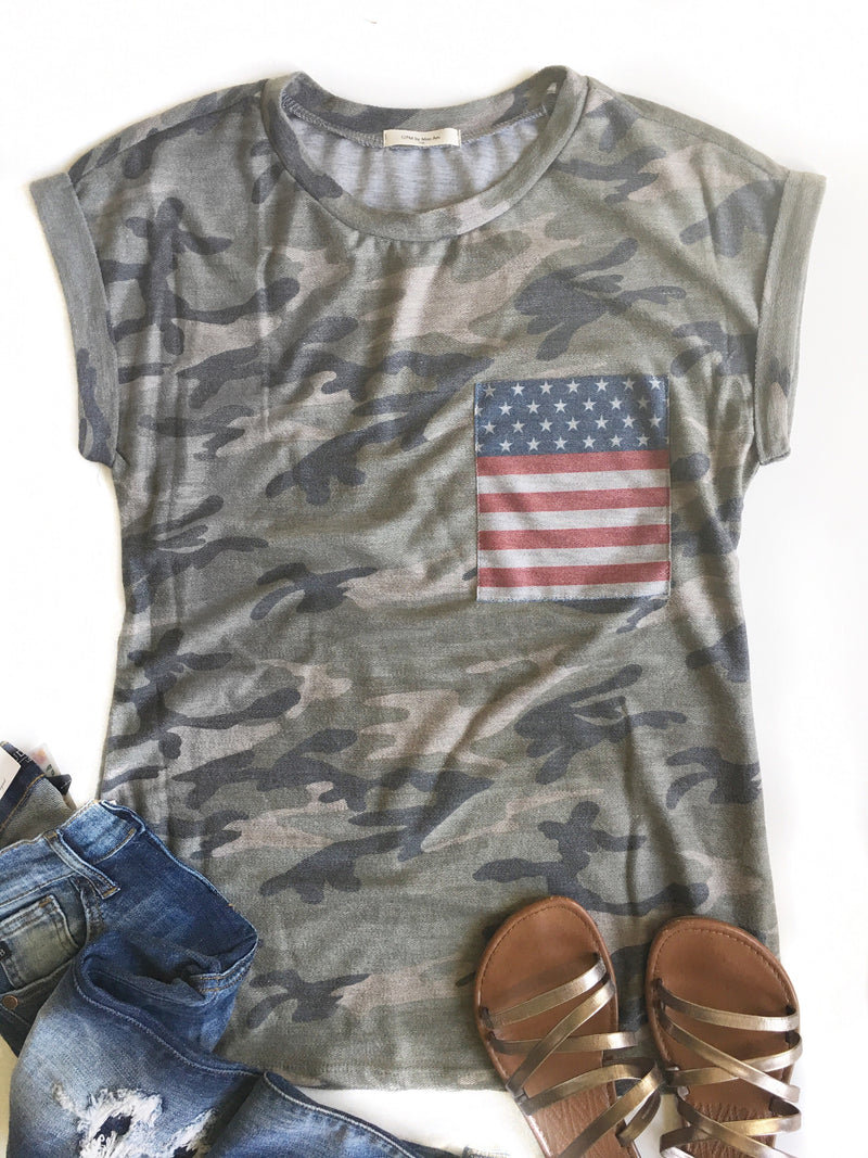All American Camo French Terry Top