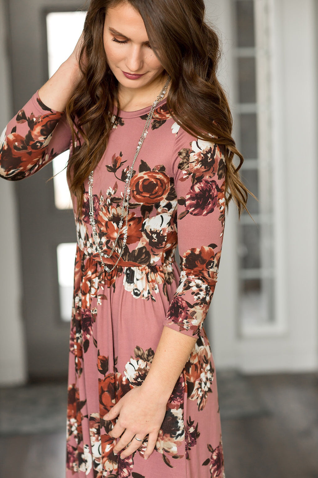 Completely Classic Floral Maxi Dress in Mauve