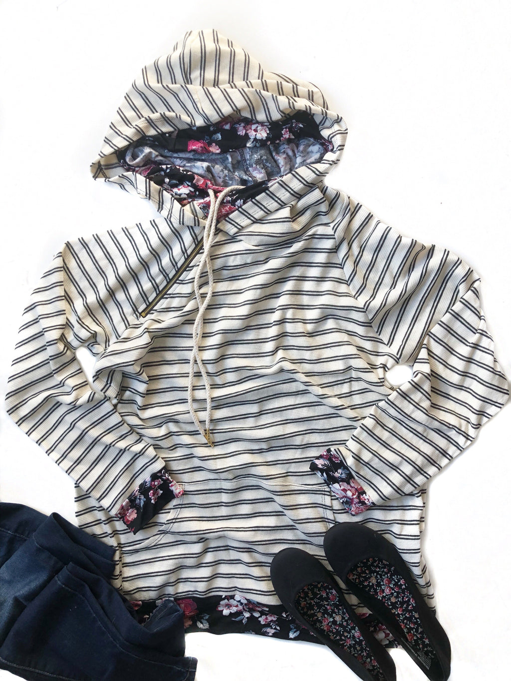 Too Easy Striped Hoodie with Floral Details