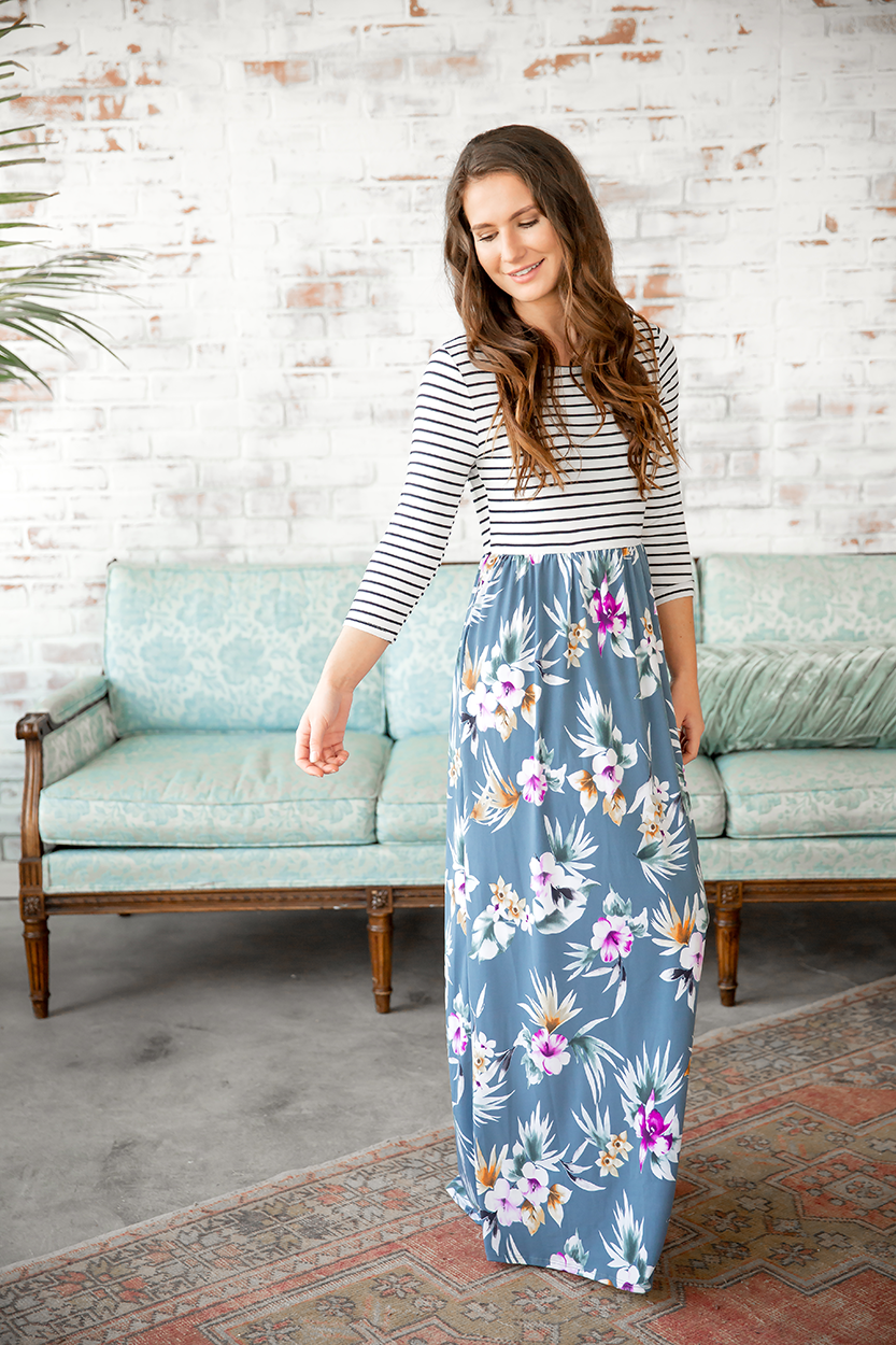 The One I Need Floral Maxi Dress in Teal Floral and Stripes
