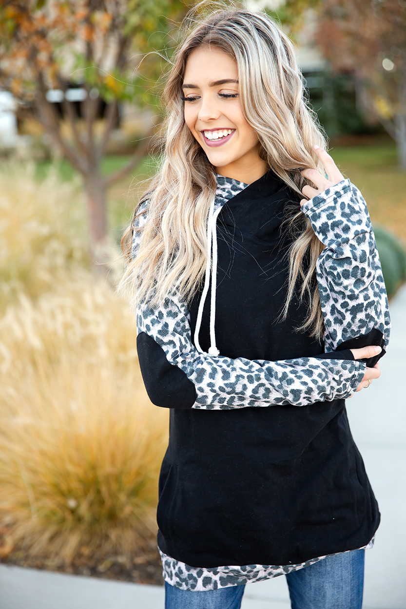 Last Call Double Hooded Sweatshirt in Black and Animal Print