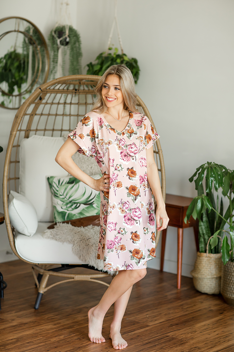 Something Different Floral Dress in Light Mauve