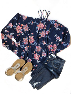 Rescue Me Long Sleeve Floral Top in Navy